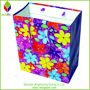 Flower Printing Travel Paper Carrier Bag