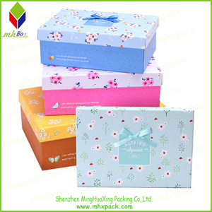 Colored Flower Printing Paper Box for Shoe