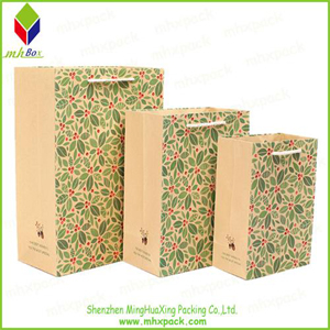 Flower Printing Kraft paper Carrier Bag