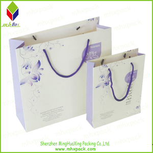 Purple Flower Printing Paper Gift Bag for Garment